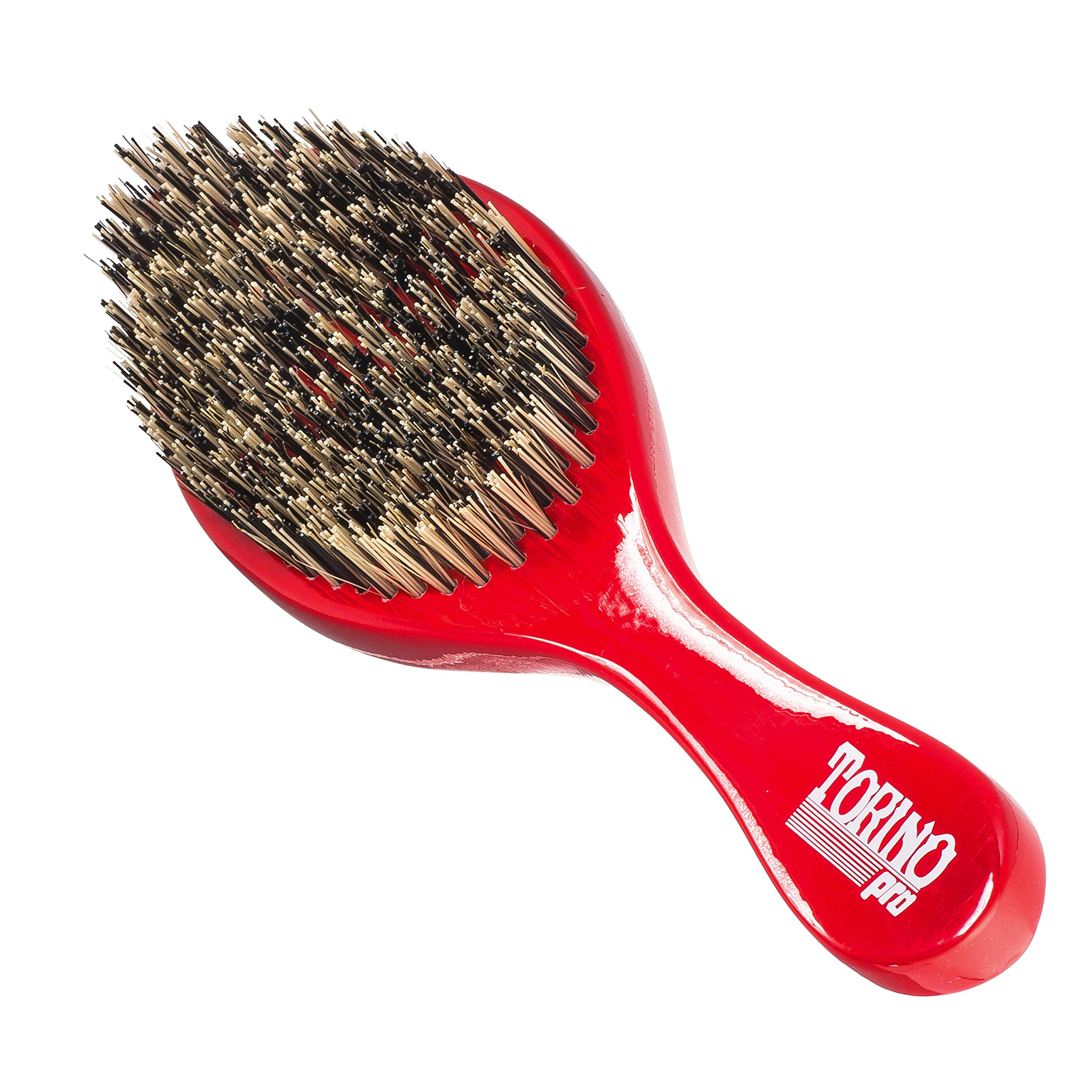 Torino Pro Wave Brush #470 by Brush King - Extra Hard Curve Wave Brush with Reinforced Boar & Nylon Bristles - Great for Wolfing - Curved 360 Waves Brush by Torino Pro (Image #1)