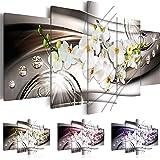 Quadro 200x100 cm ! Tre colori da scegliere - 5 Parti - Grande formato - Quadro su tela fliselina - Stampa in qualita fotografica -- Fiore Orchidea Diamondo b-A-0238-b-n 200x100 cm B&D XXL