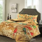 Garden Birds and Flowers Luxury Digital Printed 100% Egyptian Cotton High Thread Count T230 Sateen Lavishly Soft Duvet Cover & Pillowcases Set (Double)