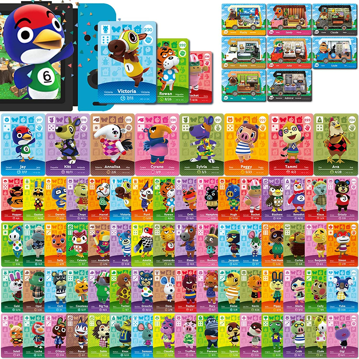 80 Pcs Mini NFC Cards Pack for Animal Crossing New Horizons Series 1,2,3,4 for Switch/Switch Lite/Wii U (Set L #217-288 + RV#25-32)