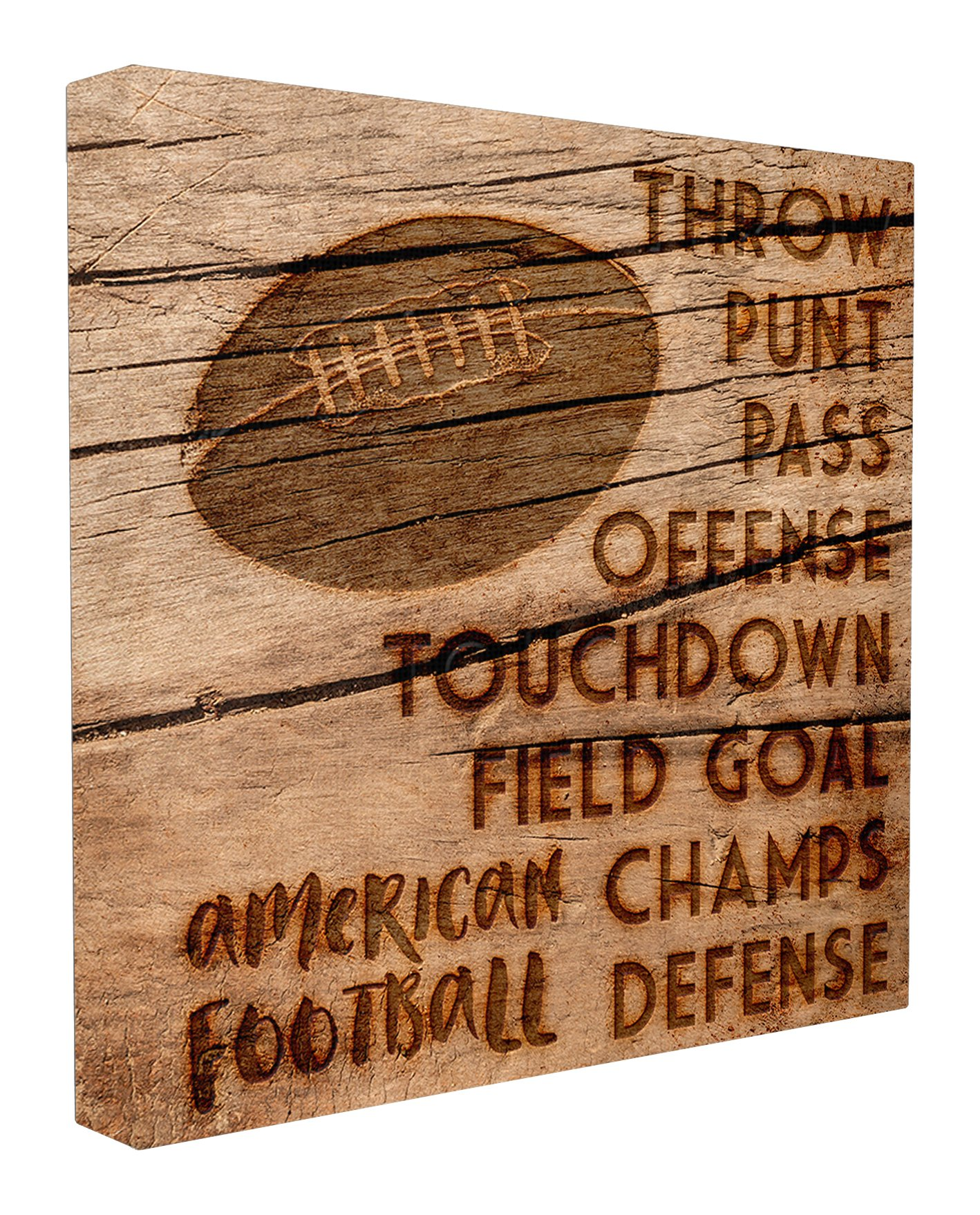 The Kids Room by Stupell Stupell Home Décor Football Planked Wood Look Stretched Canvas Wall Art, 17 x 1.5 x 17, Proudly Made in USA