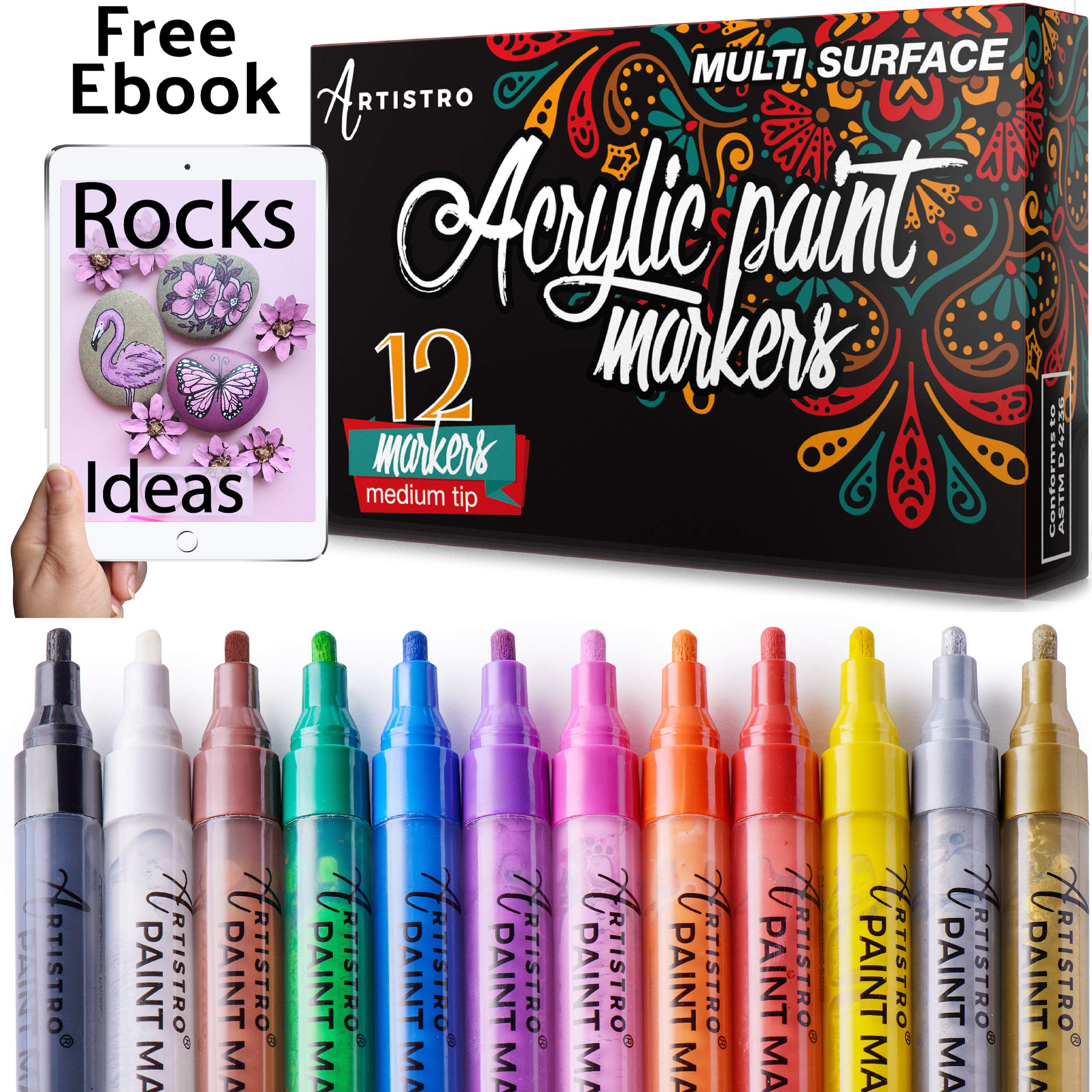 Paint Pens for Rock Painting, Ceramic, Porcelain, Glass, Wood, Fabric, Canvas. Set of 12 Acrylic Paint Markers Medium Tip by ARTISTRO