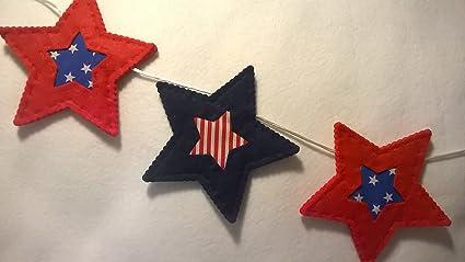 Fab Felt Crafts Guirnalda de Fieltro con Diseño de Estrellas y Rayas Americanas para Decorar el
