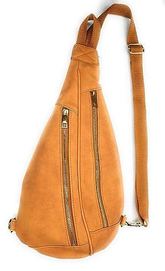 57324c4cc7c0e Amazon.com | Cute Faux Leather Sling Bag, Adjustable Nylon Strap, Crossbody  Backpack Side Waist Pack Purse (Tan) | Waist Packs