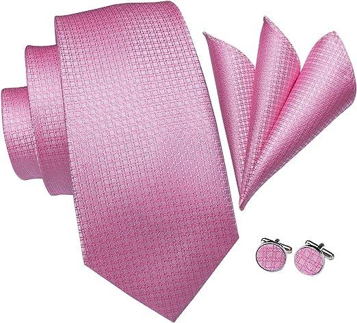Wedding Pink Paisley Silk Necktie Mens Tie Set Pocket square Cufflinks Gift Box