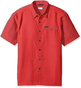 20fb9a0b94e Columbia Men's Declination Trail II Short Sleeve Shirt - Sunset Red Plaid,  Medium