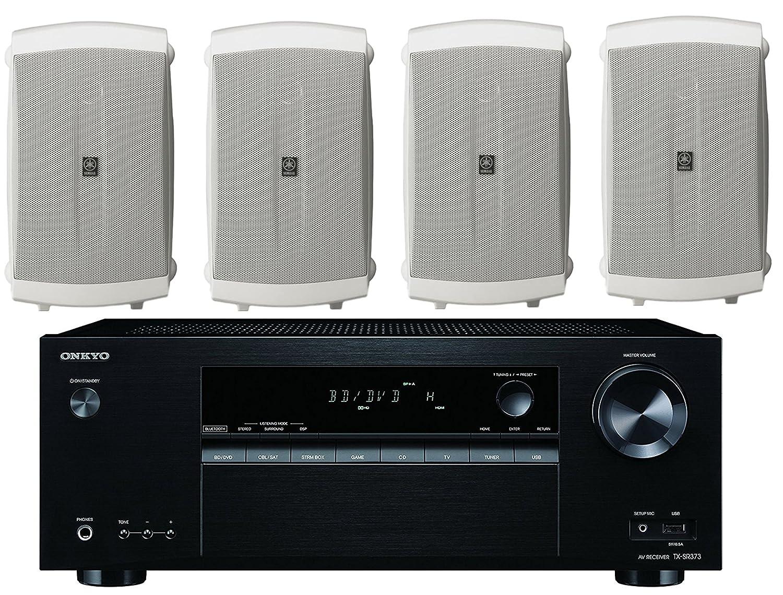 Onkyo 5.2 Channel Full 4K Bluetooth AV Home Theater Receiver Set Of 4 Yamaha High-Performance Natural Surround Sound 2-Way Indoor//Outdoor Weatherproof Speaker System