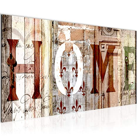 Bilder Home Haus Wandbild Vlies - Leinwand Bild XXL Format Wandbilder  Wohnzimmer Wohnung Deko Kunstdrucke Braun 1 Teilig - MADE IN GERMANY -  Fertig ...