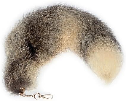 Fox Tail Fur Yellow Black Handbag Clip on Charm Accessory Key Chain Cosplay Toy