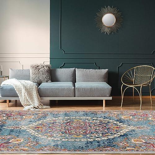 Ottomanson Area Rug, 5 3 x 7 , Turquoise