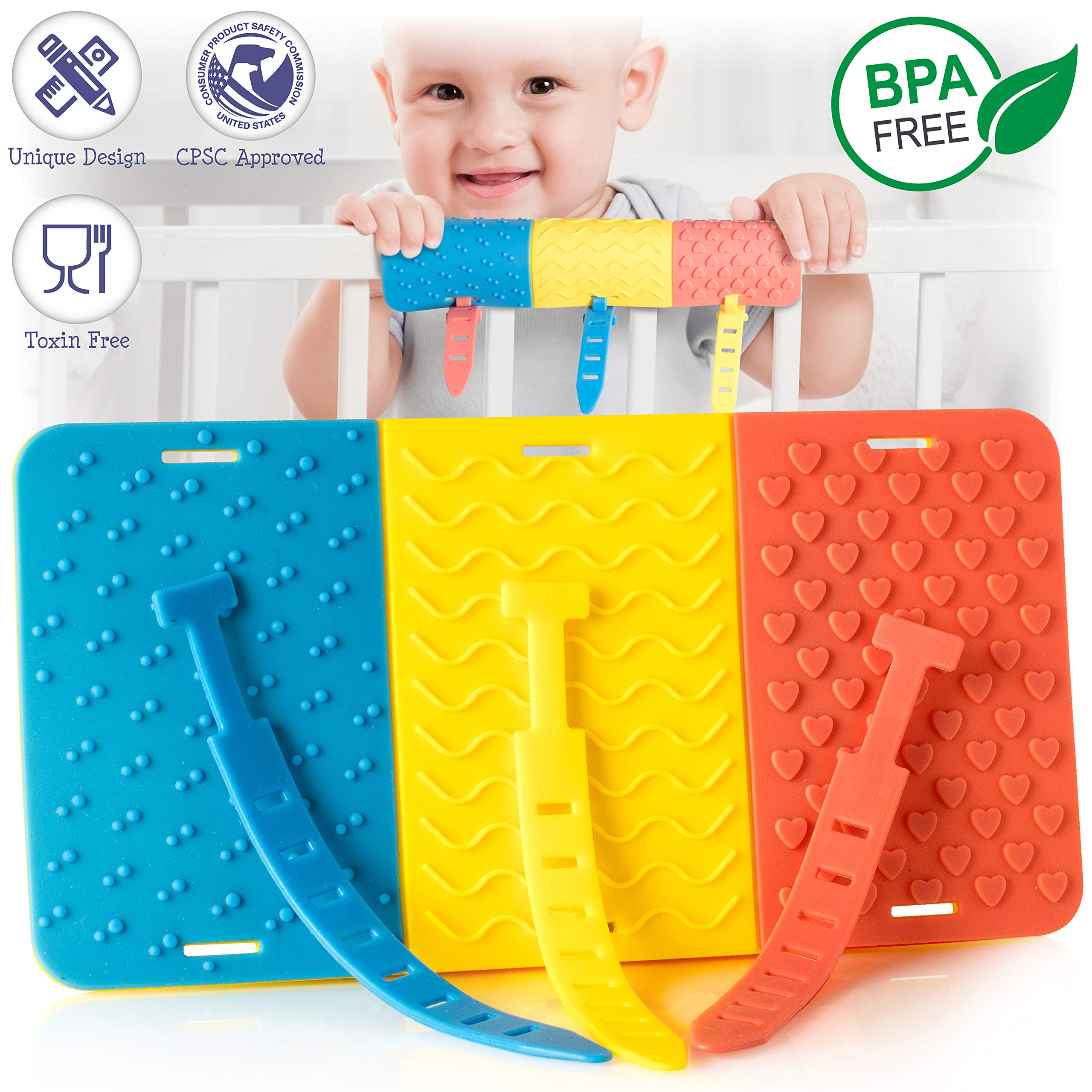 Crib Rail Teether for Baby - Innovative Crib Guard & Toy for Teething - Munchoo Protects Baby from Paint Chips, Splinters and Chemicals from Biting The Crib - Colorful, Safe, Washable, Easy to Use by Astoot