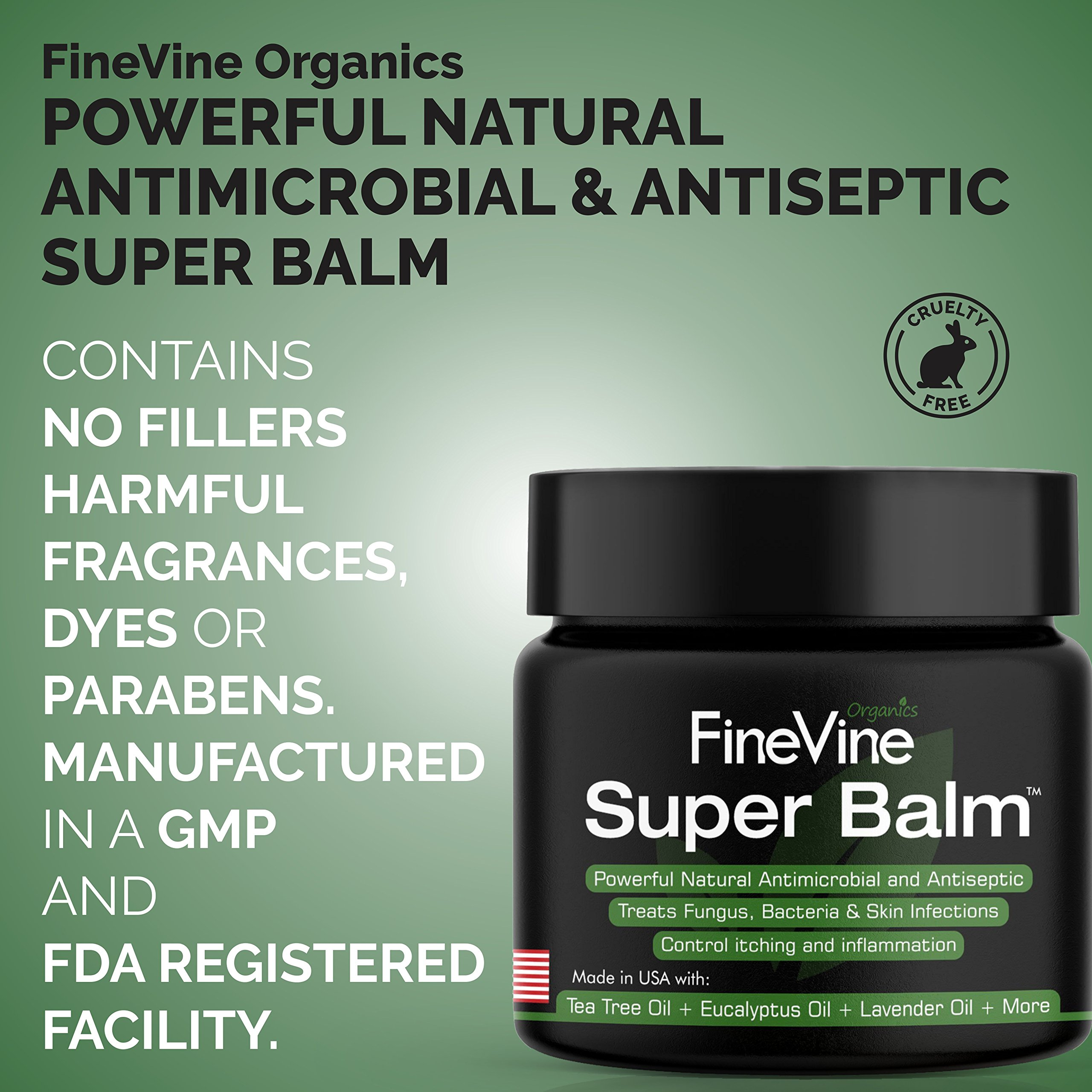 Antifungal Balm - Made in USA - Helps Treat Eczema, Ringworm, Jock Itch, Athletes Foot and Nail Fungal Infections - Best Natural Ointment to Soothes Itchy, Scaly or Cracked Skin. by FineVine (Image #7)