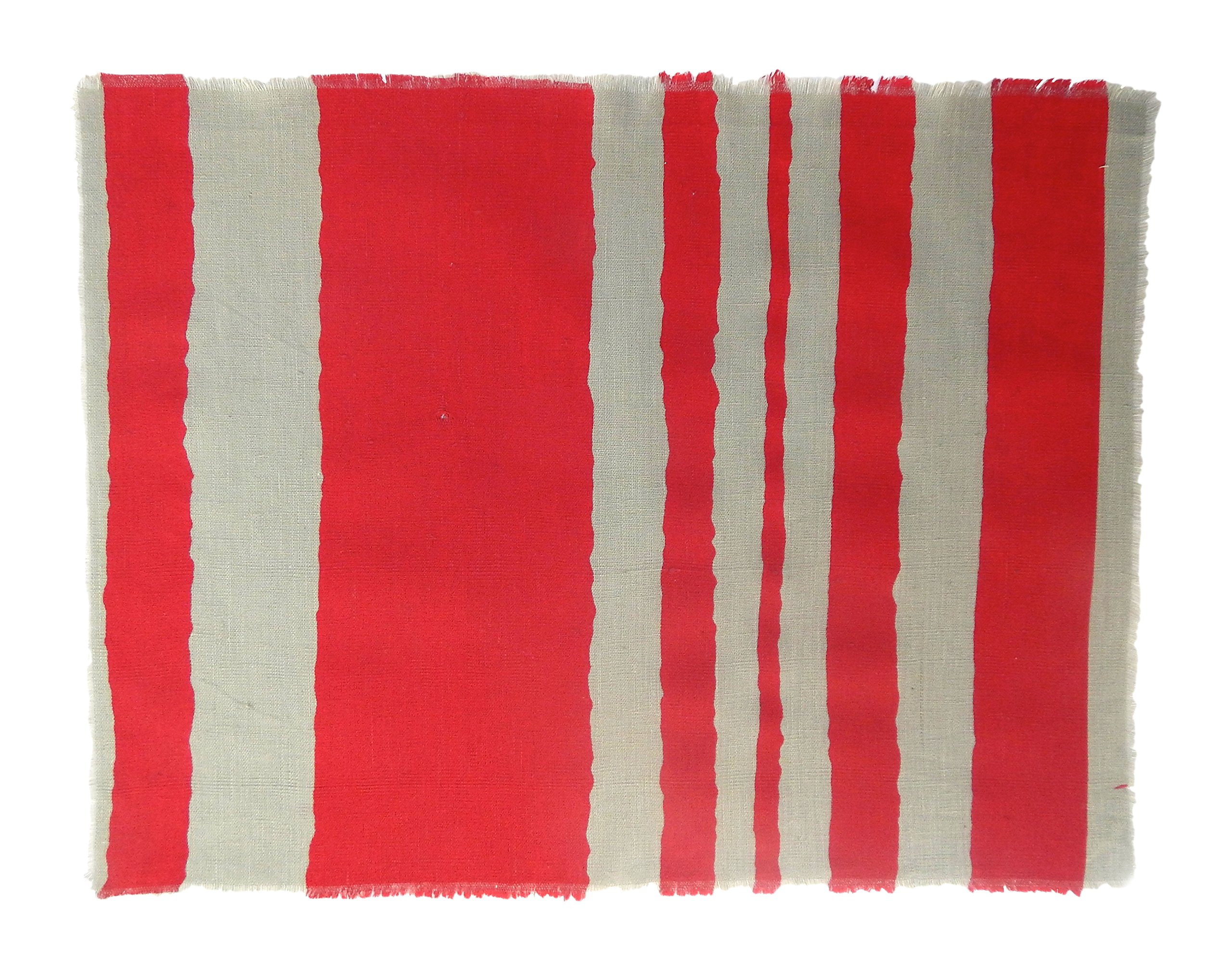 Gitika Goyal Home Windows Collection Cotton Khadi Grey Mat 17x12 Wave Design, Red Hand Screen Print