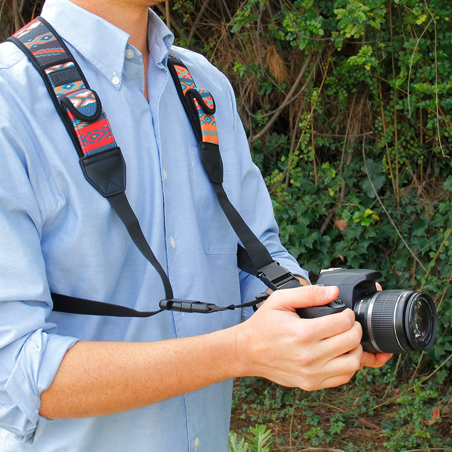 Floral Neoprene Pattern and Accessory Pockets Sony and More Point and Shoot USA Gear DSLR Camera Strap Chest Harness with Quick Release Buckles Compatible with Canon Nikon Mirrorless Cameras