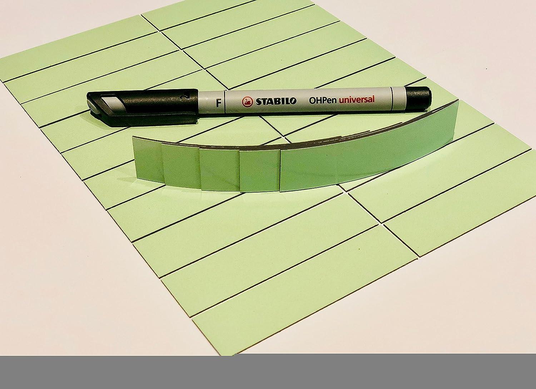 25 orangene beschreibbare Magnetstreifen 80 x 20mm inkl Stabilo Stift//beschreibbar//abwaschbar//wiederverwendbar