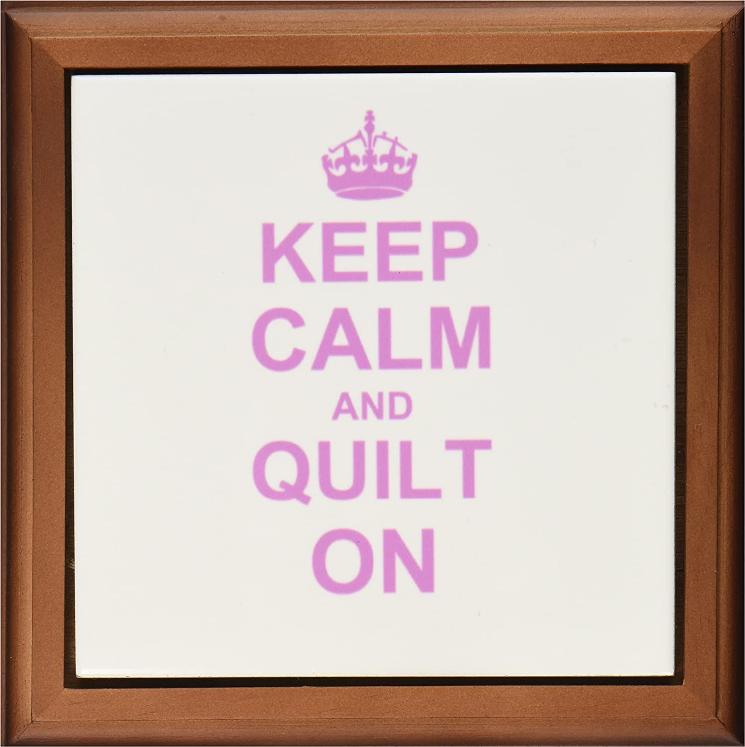 3dRose ft_157760_1 Keep Calm and Quilt on Carry on Quilting Quilter Gifts Pink Fun Funny Humor Humorous Framed Tile, 8 by 8-Inch