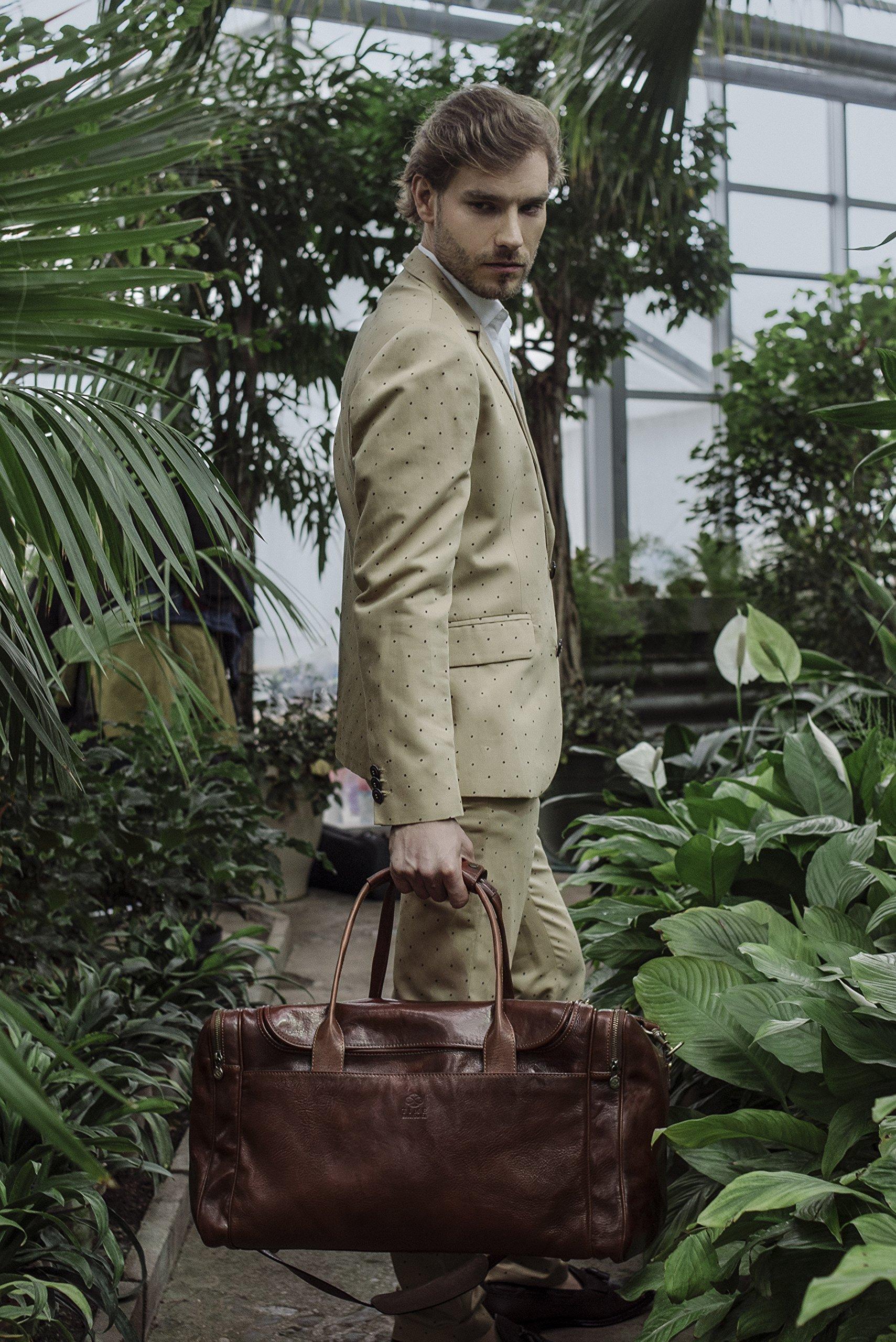 Leather Duffel Bag, Weekend Bag, Gym, Large Travel Bag, Cognac, Brown - Time Resistance by Time Resistance (Image #9)