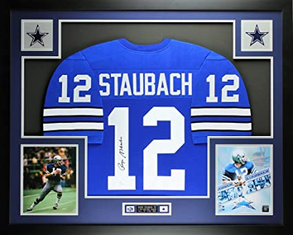 168e9a2f Roger Staubach Autographed Blue Dallas Cowboys Jersey - Beautifully ...