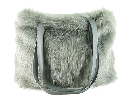 Amazon.com  LONI Womens Tote Shopper Shoulder Bag in Grey Fox Faux Fur   Shoes ca8fa8bce7636