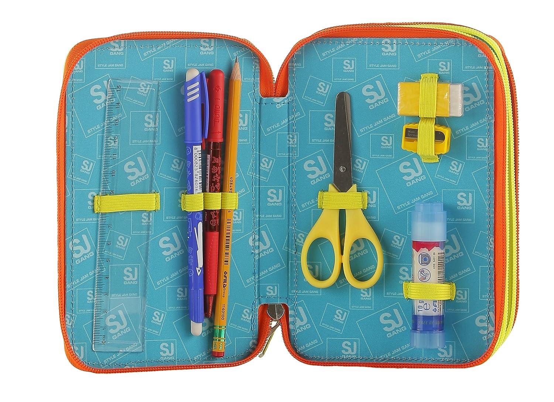 pennarelli... Gatto Con materiale scolastico: matite Rosa Multicolore SJ Gang Astuccio 3 Zip Friends Nature
