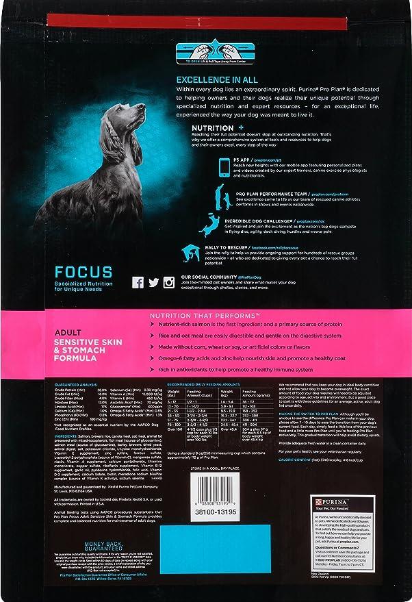 Amazon.com: Purina Pro Plan Dry Dog Food, Focus, Adult Sensitive Skin &  Stomach Formula, 18-Pound Bag, Pack of 1: Pet Supplies