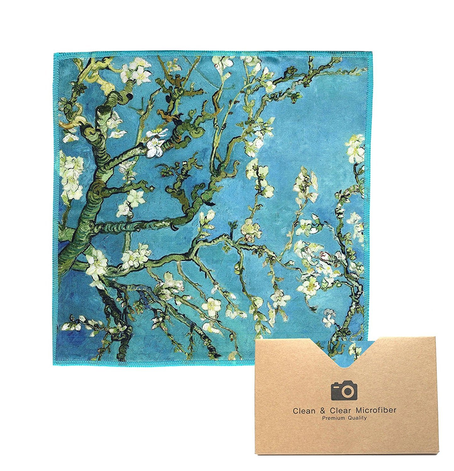 EXTRA LARGE [6 Pack] Classic Art (Vincent Van Gogh 'Almond Blossoms') - ULTRA PREMIUM QUALITY Microfiber Cleaning Cloths (Best for Camera Lens, Glasses, Screens, and all Lens.) Clean & Clear Microfiber 4330116568