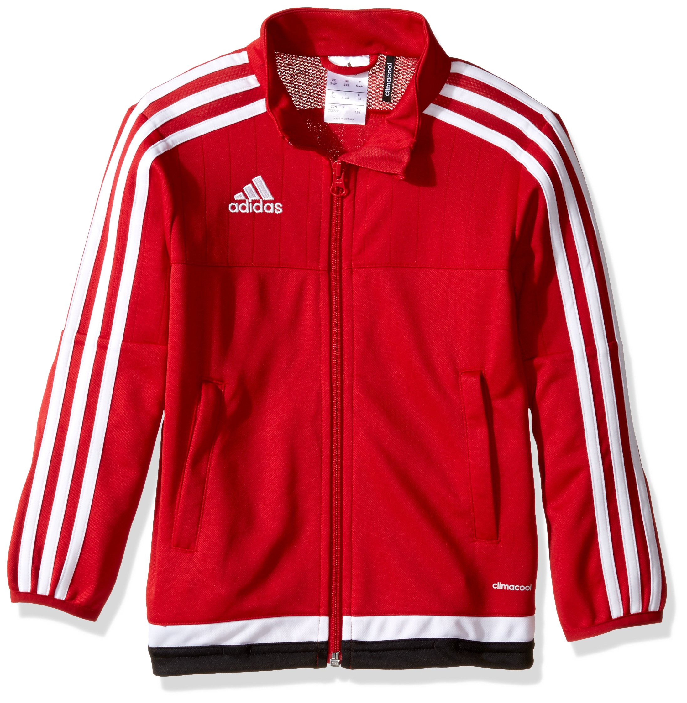 adidas Youth Soccer Tiro 15 Training Jacket, Power Red/White/Black, Large by adidas