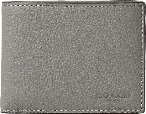8b978119e99bd COACH Men s Slim Billfold Wallet in Pebbled Leather Box Set Heather Grey  One Size