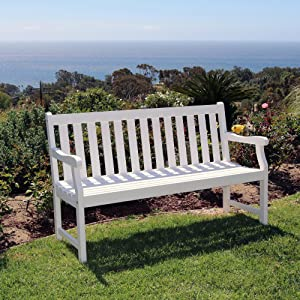 Vifah V1627 Atlantic 5-Foot Garden Bench, White-Painted