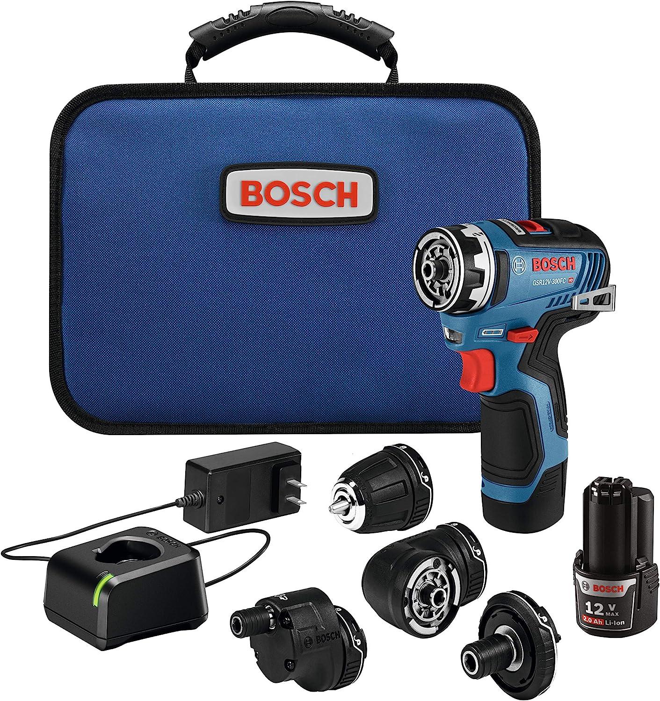 Bosch GSR12V-300FCB22 12V Max EC Brushless Flexiclick 5-In-1 Drill/Driver System with (2) 2.0 Ah Batteries