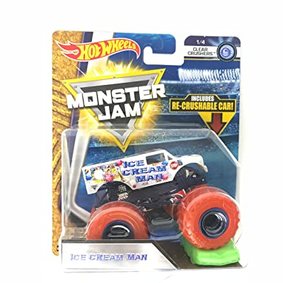 Hot Wheels Monster Jam 2020 Clear Crushers Ice Cream Man (Includes Re-Crushable Car) 1:64 Scale: Toys & Games