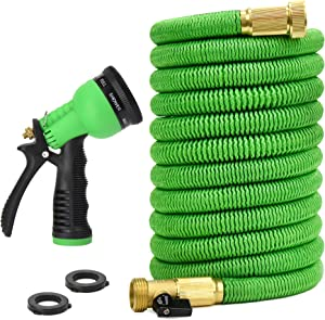 """Glayko Tm 75 Feet Expandable Garden Hose - New 2020 - Super Strong Construction Water Hose - 3/4"""" Solid Brass Fittings + 8 Function Spray Nozzle - Leakproof Flexible Lightweight Expanding Hose"""