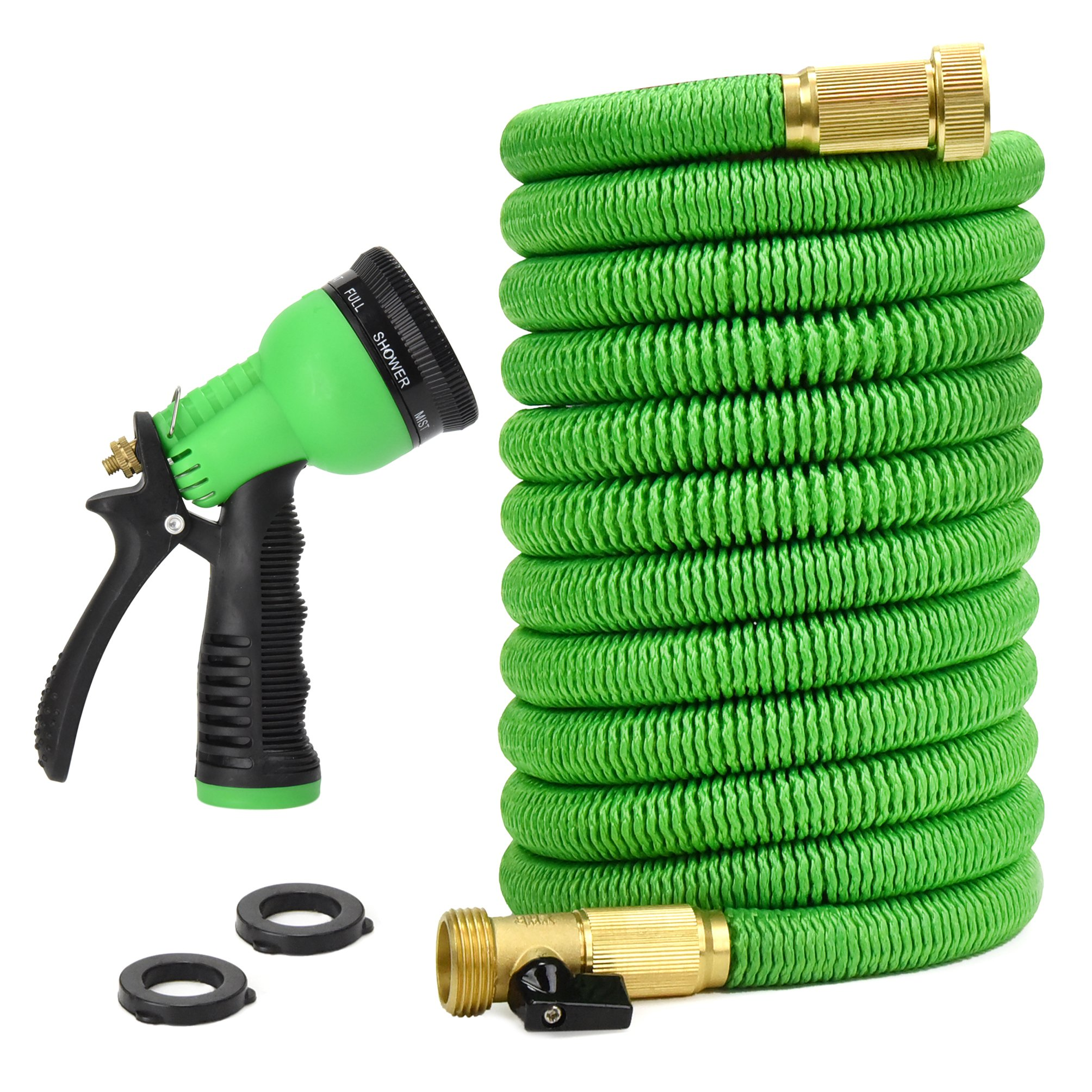 Glayko Tm 50 Feet Expandable Garden Hose - NEW 2018 Super Strong Construction- Strong Webbing -Solid Brass End + 8 Function Spray Nozzle and Shut-off Valve by Glayko