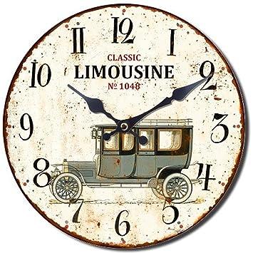 Reloj De Pared 28 cm Madera Oldtimer Classic Sedan Nostalgie Reloj Vintage Shabby Chick