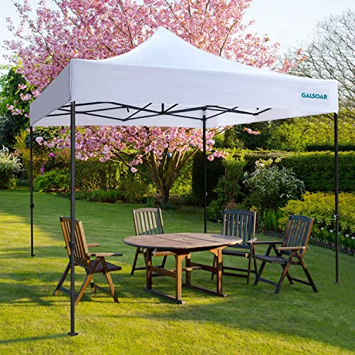 GALSOAR Pop Up Canopy 10×10 Outdoor Commercial Gazebos, Ez Up Canopy Tent Instant Shelter with Roller Bag Bonus 4 Weight Bags, Suitable for Party, Picnics, Market Stall, White