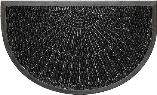 Fußmatte Türmatte 45 x 75 cm Halbmond schwarz Schmutzfangmatte Fußabtreter Außen