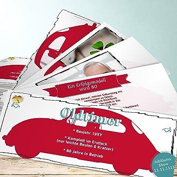 Einladung 80er Party Geburtstag, Oldie But Goldie Mit Foto 80 40 Karten,  Kartenfächer 210x80