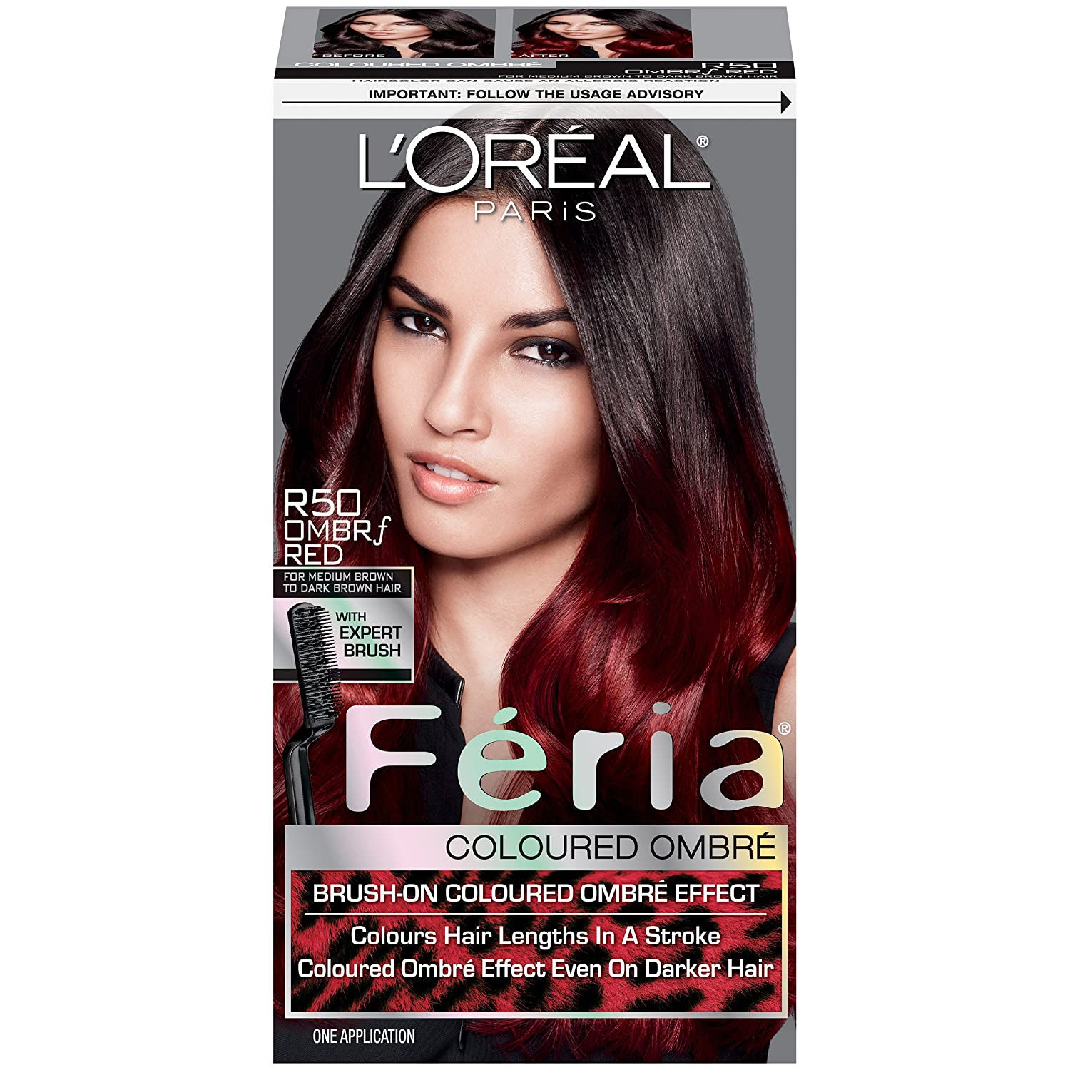 L\'Oreal Paris Feria Brush-on Colored Ombre Effect Hair Color, R50 Ombre Red  For Brown Hair