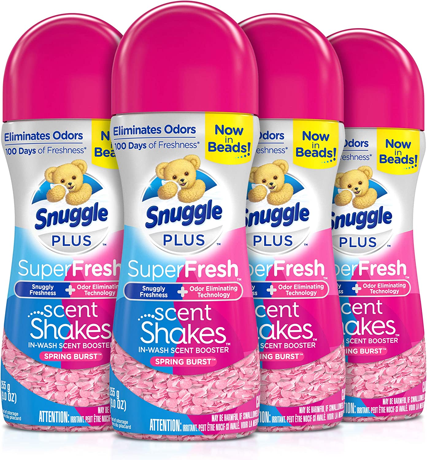 Snuggle Scent Shakes in-Wash Scent Booster Beads, SuperFresh Spring Burst, 9 Ounce (Pack of 4)