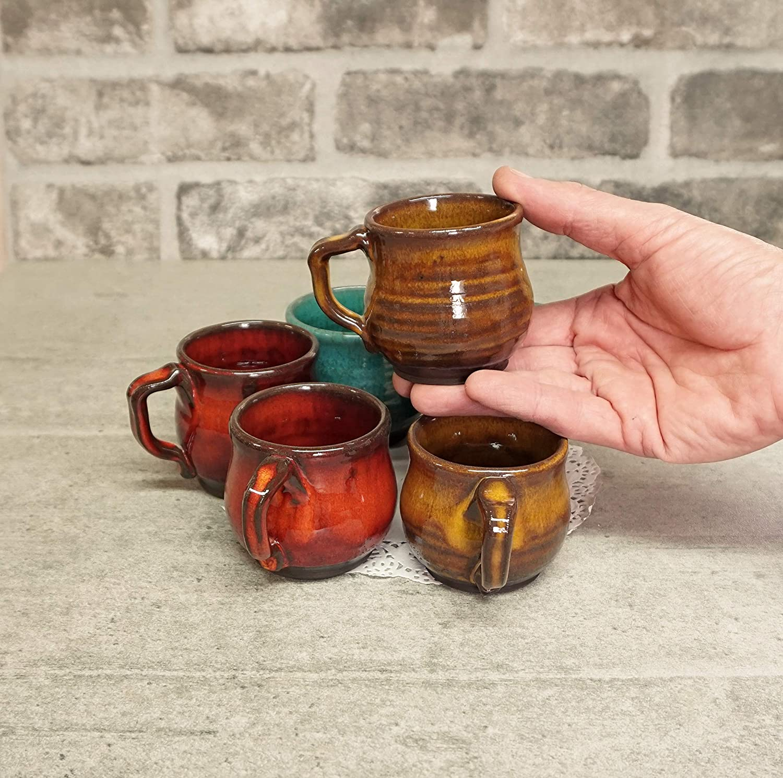 Tea cup set Set of 6 espresso cups Wheel thrown art Pottery gift Colorful espresso cups Blue ceramic espresso cups Coffee gift idea
