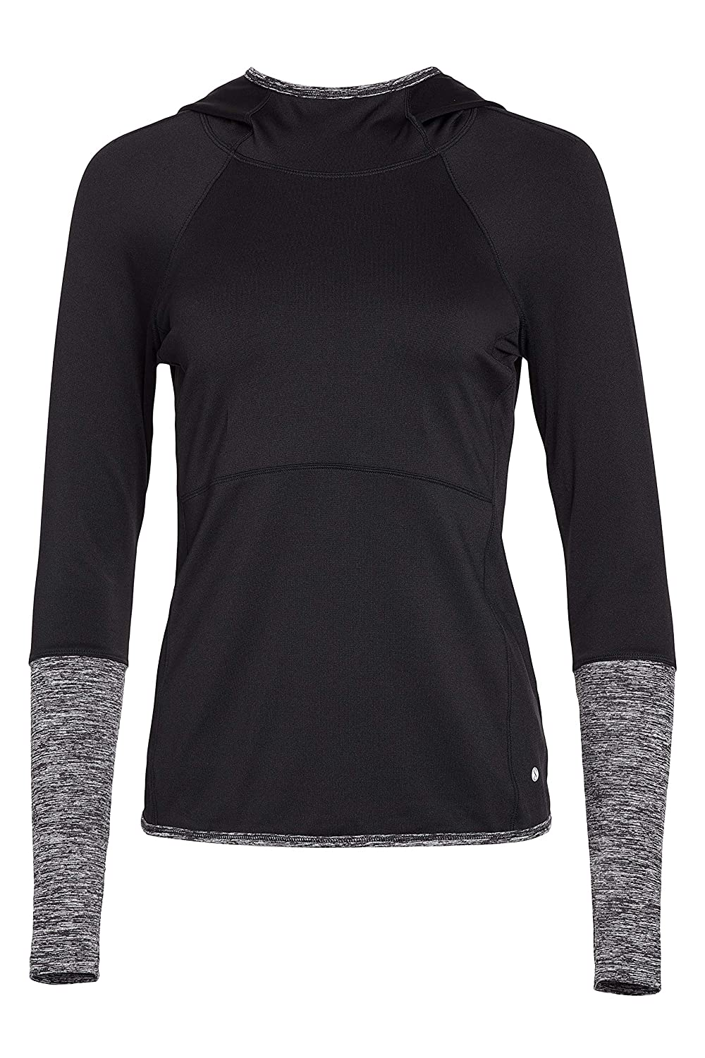 Black Soot Layer 8 Ladies Long Sleeve Hooded Top with Side Pulls