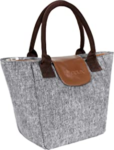 OPUX Lunch Bags for Women | Insulated Lunch Box Tote Cooler Purse for Women, Large Lunch Purse for Work Office School Picnic Girls with Shoulder Strap | Fits 15 Cans (Heather Gray)