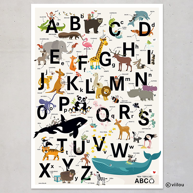 ABC-Poster zum Schulanfang, mehrsprachig (deutsch, englisch) Deko ...