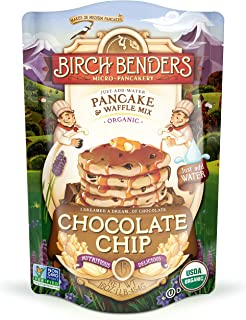 product image for Organic Chocolate Chip Pancake and Waffle Mix by Birch Benders, Whole Grain, Just Add Water, Non-GMO, 16oz