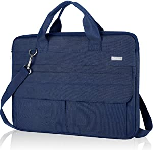 Landici 17 17.3 Inch Laptop Bag Case with Shoulder Strap, 360 Protective Waterproof Slim Computer Carrying Sleeve Cover Compatible with HP Envy 17, 2020 Asus Dell, New Razer Blade Pro 17, Blue