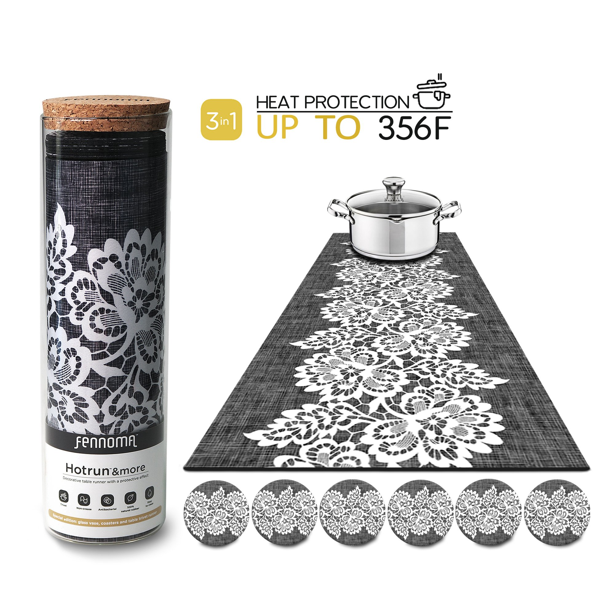 Hotrun - 3 in 1 - Trivet and Decorative Table Runner With Coasters (6 pcs) Handles Heat Up to 356F, Anti Slip, Waterproof, and Convenient for Hot Dishes and Pots + Glass Vase (Canvas & lace) by Fennoma