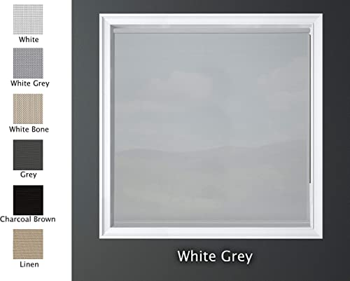 Luxr Blinds Custom-Made Solar Light Filtering Roller Window Shades 1 Transparency Indoor, Outdoor Size 34 W X 60 L White Grey Color