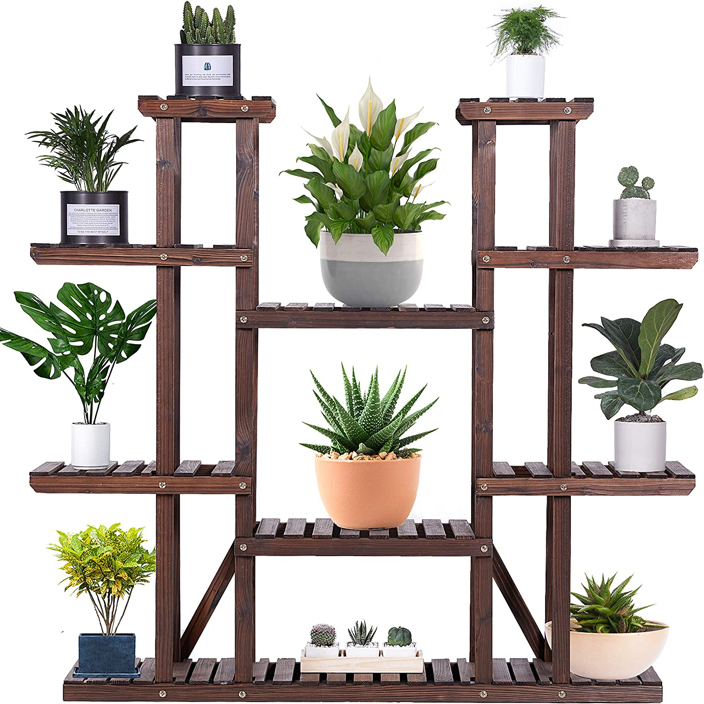 Amerlife 9 Tier Wooden Plant Stand, Vertical Carbonized 17 Shelves Display Flower Rack Patio Garden Balcony Indoor Outdoor