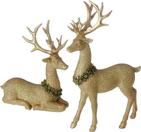 Raz Set Of Golden Reindeers New In The Package