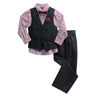 a65608d7 Amazon.com: U.S. Polo Assn. Boys' 4 Piece Mini Tick Black Vest, Pant, Sport  Shirt and Tie Set: Clothing